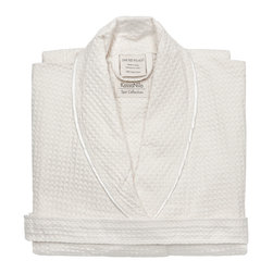Kassatex - Kassatex Kassanilo Shawl Bath Robe, White - After a bath, a dip in the pool or at the end of a long and grueling day, this luxurious robe is just the thing to soothe you. Made of soft and absorbent Egyptian cotton in a textural waffle weave, it has a gently rolled shawl collar with contrasting edging.