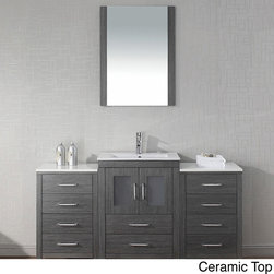 "VIRTU - Virtu USA Dior 60 inch Single Sink Vanity Set in Zebra Grey - ""Virtu USA 60 inch Dior single sink vanity is the essence of beauty with clean lines and quality material. This vanity plus two side cabs comes a total of two soft closing doors,ten soft closing drawers,a mirror....more."