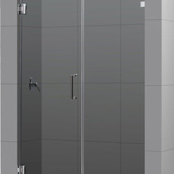 DreamLine - DreamLine SHDR-23547210-01 Radiance 54in Frameless Hinged Shower Door, Clear 3/8 - The Radiance shower door shines with a sleek completely frameless glass design. Premium thick tempered glass combined with high quality solid brass hardware deliver the look of custom glass at an incredible value. 54 in. W x 72 in. H ,  3/8 (10 mm) thick clear tempered glass,  Chrome or Brushed Nickel hardware finish,  Frameless glass design,  Out-of-plumb installation adjustability: No,  Fully frameless glass hinged shower door design,  Solid brass wall mount self-closing hinges and wall brackets,  Precise width measurement of finished opening required,  Door opening: 23 in.,  Stationary panel: 30 in.,  Reversible for right or left door opening installation, Brass