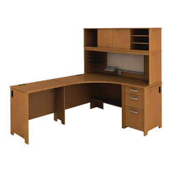 Bush - Bush Envoy L-Shaped Desk in Natural Cherry - Bush - Modular Office Configurations - ENVPKG4 - Bush Envoy Wood Return in Natural Cherry (included quantity: 1) Connect the Bush Envoy Desk Return to your Envoy Corner Desk to create a space-efficient L desk. Bush's Envoy collection is an essential part of any professional office suite. Features:
