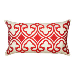 1414 Home - Venezio Embroidered Lumbar Moroccan Throw Decorative Pillow, Red, 14x24 - 14x24: Cotton.  Hidden zipper closure.  Down insert.  Embroidered Moroccan motif imbues an exotic vibe.