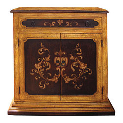 Koenig Collection - Old World Buffet Narrow Mochita, Torched Dijon And Mahogany With Scrolls - Old World Buffet Narrow Mochita, Torched Dijon and Mahogany with Scrolls