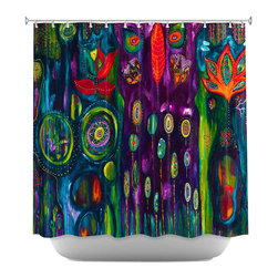 DiaNoche Designs - The Believers Garden Shower Curtain - Sewn reinforced holes for shower curtain rings. Shower Curtain Rings Not Included. Dye Sublimation printing adheres the ink to the material for long life and durability. Machine Washable. Made in USA.