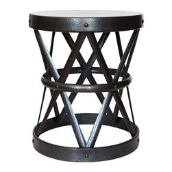 Round Hammered Black Iron Side Table by Arteriors - $895 Est. Retail - $525 on C -