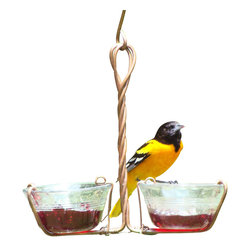 Songbird Essentials - Two Cup Jelly Feeder - Perfect for feeding grape jelly to orioles or mealworms to Bluebirds. Copper clips let you remove the cups for cleaning and filling.