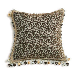"""Canaan - Pica Chenille Wine Small Damask Pattern Print 18"""" x 18"""" Throw Pillow - Pica chenille wine small damask pattern print 18"""" x 18"""" throw pillow with tassel bead trim. Measures 18"""" x 18"""" made with a blown in foam. These are custom made in the U.S.A and take 4-6 weeks lead time for production."""