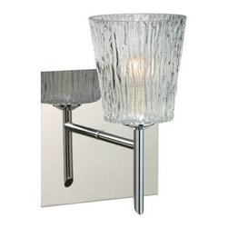 Besa Lighting - Nico Chrome One-Light Halogen Square Canopy Wall Sconce with Clear Stone Glass - - Clear Stone is a clear blown glass with an outer texture of coarse sandstone. Inspired by the elements of nature, the appearance of the surface resembles the beautiful cut patterning melting ice over a rock formation. This blown glass is handcrafted by a skilled artisan, utilizing century old techniques that have been passed down from generation to generation. Each piece of this d�cor has its own artistic nature that can be individually appreciated.  - Bulbs Included  - Shade Ht (In): 3.75  - Shade Wd/Dia (In): 3.5  - Canopy/Fitter Ht (In): 5  - Canopy/Fitter Dia/Wd (In): 5  - Title XXIV compliant  - Primary Metal Composition: Steel  - Shade Material: Glass  - NOTICE: Due to the artistic nature of art glass, each piece is uniquely beautiful and may all differ slightly if ordering in multiples. Some glass decors may have a different appearance when illuminated. Many of our glasses are handmade and will have variances in their decors. Color, patterning, air bubbles and vibrancy of the d�cor may also appear differently when the fixture is lit and unlit. Besa Lighting - 1SW-512500-CR-SQ