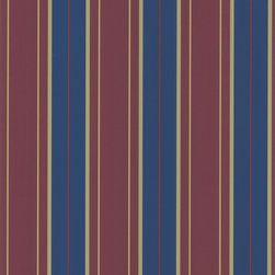 Brewster - Maroon Stripes Wallpaper - Thick and narrow lines of gold, maroon, and navy blue adorn this gorgeous striped wallpaper. Made of solid sheet vinyl, this stylish wallpaper is a splendid accent to your home decor.