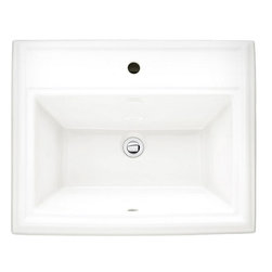 """American Standard - American Standard 0700.001.020 Town Square Countertop Sink, White - American Standard 0700.001.020 Town Square Countertop Sink, White. This countertop sink features a classic American design with it's clean, straight lines with classic ogee curves. It features a fine fireclay construction, a tapered interior bowl with a flat bottom, and a front overflow. This model features a single, centered faucet mounting hole, and measures 23-1/8"""" by 18-3/4"""", with a 6-1/4"""" bowl depth."""