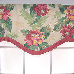 RLF HOME - Temea Ruffled Cornice Valance - Top off your window treatment with this rod-pocket cornice valance. Featuring a vibrant pink-and-green floral pattern, this 100 percent cotton duck valance with a bias-cut French-pleated ruffle will enhance the interior design of any room in your home.