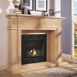 Marble Fireplace Mantels - Regent - Full of Grecian charm, the Regent fireplace mantel is made of hand carved marble, intricately detailed by master craftsmen for years of timeless beauty.