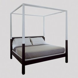 Ecofirstart 5 - Four poster, platform bed in Oak with lacquer accents on the headboard rail, upper posts and upper rails. Platform included, upholstered in 1017-07 Blanchi (Littoral) CL linen fabric.