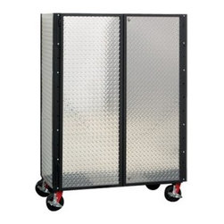 Garage Fabricators Standard Diamond Plate 4 Shelf Enclosed Cabinet - The Garage Fabricators Standard Diamond Plate 4 Shelf Enclosed Cabinet is a mobile storage unit with 8-inch phenolic casters welded directly into the base. The load capacity of the 4 adjustable shelves within and the heavy-duty casters totals 6,000 lbs. in one handsome diamond-plate unit. The entire cabinet is crafted from steel and aluminum, tough enough to handle anything - and the versatility of adjustable shelving allows you to stock tools and supplies the way you want! Best of all, this rugged cabinet comes in your choice of frame and cabinet color so you can match it to the look of your work shop! Measures 48W x 24D x 72H inches. Comes in almost-black chrome, blue streak, gold vein, pumpkin orange, red wagon, and wrinkle black.About Garage FabricatorsThe guys at Garage Fabricators are confused. Why are so many garage products - things designed to help you build your dreams - poorly designed? In their own particle board-free workshop, they create incredible heavy-duty pieces worthy of the garages and projects they support. They also create products that, incredibly, can go with you. With diamond-plate stainless steel, hand-welded frames, and ultra-high-capacity phenolic casters, you'll never go back to a flimsy garage again.