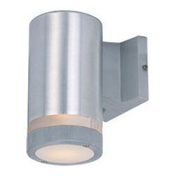 Maxim Lighting - Lightray Glass Stripe Outdoor Wall Sconce - Lightray Glass Stripe Outdoor Wall Sconce is available in a Brushed Aluminum or Architectural Bronze finish with White glass.  Available as a one or two light option also available as a LED or Incandescent fixture. LED: 10 watt, 120 volt LED lamp is included.  Incandescent: 50 watt, 120 volt BR30 type Medium base Incandescent lamp is required but not included.  One Light: 4.25 inch width x 8 inch height x 6.5 inch depth.  Two Light: 4.25 inch width x 12 inch height x 6.5 inch depth.