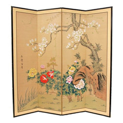 "Oriental Furniture - Harmony in Nature - 72"" - The Harmony in Nature motif is lovely, with a fruit tree in white blossom, and bright flowers around the base. Note that no two renderings are exactly the same. Subtle, beautiful hand painted wall art."