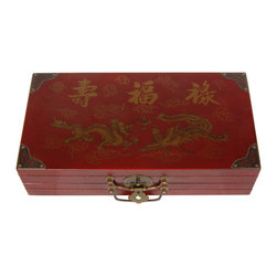 Oriental Furniture - Red Lacquer Chess Set Box - Asian chess set with Oriental variations of each piece. The game case is finished with a medium gloss red lacquer and painted with a dragon and phoenix motif, and accented with antiqued brass hardware, including C-shape handles and an oriental circle medallion hasp and lock pin.