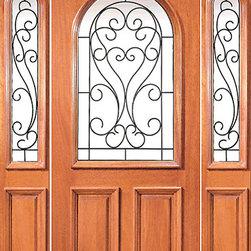 "Prehung Mahogany Insulated Radius Lite Front Door Two Sidelights - SKU#XR-171-1-2BrandAAWDoor TypeExteriorManufacturer CollectionExpo Iron Exterior DoorsDoor ModelDoor MaterialWoodWoodgrainMahoganyVeneerPrice1988Door Size Options[36""+2(12"") x 80""] (5'-0"" x 6'-8"")  $0[36""+2(14"") x 96""] (5'-4"" x 8'-0"")  +$776Core TypeSolidDoor StyleDoor Lite StyleRadius LiteDoor Panel StyleRaised Moulding , Floating Panel , 2 PanelHome Style MatchingLog , Prairie , Ranch , MediterraneanDoor ConstructionEngineered Stiles and RailsPrehanging OptionsPrehungPrehung ConfigurationDoor with Two SidelitesDoor Thickness (Inches)1.75Glass Thickness (Inches)Glass TypeDouble GlazedGlass CamingGlass FeaturesInsulated , TemperedGlass StyleClear , Glue Chip , SandblastGlass TextureClear , Glue Chip , SandblastGlass ObscurityDoor FeaturesDoor ApprovalsFSCDoor FinishesDoor AccessoriesWeight (lbs)850Crating Size25"" (w)x 108"" (l)x 52"" (h)Lead TimeSlab Doors: 7 daysPrehung:14 daysPrefinished, PreHung:21 daysWarranty1 Year Limited Manufacturer WarrantyHere you can download warranty PDF document."