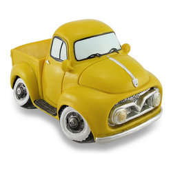 Zeckos - Bright Yellow Vintage Style Pickup Truck Coin Bank - This awesome vintage style pickup truck coin bank is a must-have addition to the homes of classic truck enthusiasts, and a fun accent in children's rooms that helps to encourage a healthy saving habit It's made from cold cast resin with a hand-painted bright yellow finish reminiscent of yesteryear There is a coin slot under the rear window, and it easily empties via a twist-off plug in the bottom. Though it's not quite as large as its life-size cousin, this 6.75 inch (16 cm) long, 4 inch (10 cm) high, 4.25 inch (11 cm) wide nostalgic pickup truck coin bank will haul quite a load of coins straight to the bank It's a great gift for any vintage vehicle fans both young, and young at heart that's sure to be loved