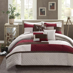 Madison Park - Madison Park Buster 7-Piece Comforter Set - The Madison Park Buster Collection adds a rich warmth to your home. Its quilted faux mink features a printed colorblock design in bold chocolate brown,deep red and beige on a khaki base.