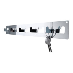 Radius Design - Small Emma - The attractive coatrack series Emma is eye-catching, suitable for every type of garment or your keys. The high quality stainless-steel fits on every wall. The hooks are part of the main-board.