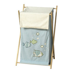 Sweet Jojo Designs - Go Fish Hamper - The Go Fish Hamper by Sweet Jojo Designs will add a designers touch to any child's room. This children's laundry clothes hamper has a wooden frame, mesh liner, and a fabric cover. The removable hamper body is secured to the wooden frame with corner loops and Velcro. The wooden stand folds flat for space-saving storage and the removable mesh liner is great for toting laundry.