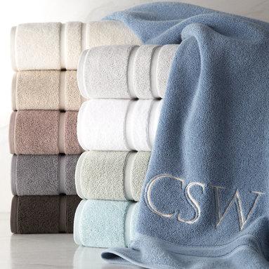 Waterworks Studio - Double Dobby Bath Towel Monogrammed - SEAGLASS (AQUA) - Waterworks StudioDouble Dobby Bath Towel Monogrammed