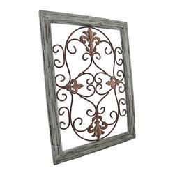 Zeckos - Distressed Wooden Green Frame Wrought Iron Fleur de Lis Wall Decor 22 In x 26 In - The antique distressed wood and rusted metal accents of this fleur de lis wall decor speak of a long glorious life on the Champs-Elysees. Now, this beautiful piece of wrought iron art can be displayed in your own home. A single metal wall hanger on the reverse of the distressed light green wooden frame allows it to hang from a single nail or wall hook. The remarkable frame measures 22 inches tall, 16 inches wide, and 1 inch deep. This classic piece is an excellent cultural home accent that would look decidedly elegant in any setting.