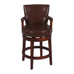 Chintaly Blue Hill 26 in. Swivel Counter Stool - Antique Brown - Give your dining nook a traditional twist with the Chintaly Blue Hill 26 in. Swivel Counter Stool - Antique Brown. Created with solid birch wood and an antique finish, this comfortable high back stool with padded arms will fit perfectly in your modern home. The seat is covered with dark brown, bonded leather. You'll find assembly to be quite easy. Sit back and celebrate the fact that you made an excellent choice.About Chintaly ImportsBased in Farmingdale, New York, Chintaly Imports has been supplying the furniture industry with quality products since 1997. From its humble beginning with a small assortment of casual dining tables and chairs, Chintaly Imports has grown to become a full-range supplier of curios, computer desks, accent pieces, occasional table, barstools, pub sets, upholstery groups and bedroom sets. This assortment of products includes many high-styled contemporary and traditionally-styled items. Chintaly Imports takes pride in the fact that many of its products offer the innovative look, style, and quality which are offered with other suppliers at much higher prices. Currently, Chintaly Imports products appeal to a broad customer base which encompasses many single store operations along with numerous top 100 dealers. Chintaly Imports showrooms are located in High Point, North Carolina and Las Vegas, Nevada.