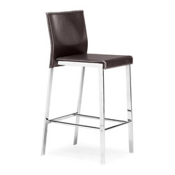ZUO - Boxter Counter Chair - Espresso - Stylish and sturdy, the Boxter Chair features a regenerated leather seat, stitched back, and a solid steel chrome frame. Comes in dining, counter, and bar heights, sold separately. Choose espresso or black.