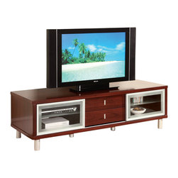 Global Furniture USA - M720TV-M Mahogany Veneer Finish Entertainment Unit - The M720TV-M Entertainment Unit will be a lovely addition to your living room decor. The TV unit has a sleek wood Veneer construction creates a sturdy frame, with smooth, clean lines. The top is finished in a warm mahogany color and is large enough to hold just about any television. It features two glass sliding doors and drawers that provide space for electronic components and other media items.