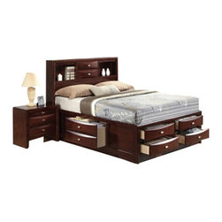 """Acme - 5-Piece Ireland Collection Espresso Finish Wood Queen Captains Bedroom Set - 5-Piece Ireland collection espresso finish wood queen captains bedroom set with storage drawers underneath. This set includes the queen bed set, one nightstand, dresser, mirror and chest. Queen captains bed features a bookcase headboard with storage drawers underneath. Nightstand measures 26"""" x 17"""" x 25"""" H. Dresser measures 59"""" x 17"""" x 41"""" H. Mirror measures 39"""" x 35"""" H. Chest measures 32"""" x 17"""" x 48"""" H. Some assembly may be required. Eastern king available at additional cost."""