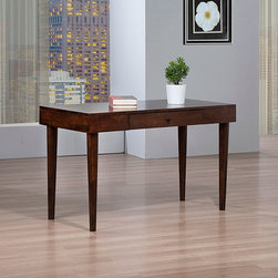 None - Vilas Writing Desk - The elegant yet simple craft of the Vilas brown wooden writing desk makes it the perfect addition to any home decor. The deep brown tobacco finish provides a sophisticated touch,while the wooden construction provides added durability.