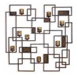 Uttermost - Uttermost 20850  Siam Metal Candlelight Wall Sculpture - Made from hand forged metal, this decorative wall sculpture is also a wall sconce finished in rust brown. stained candles included.