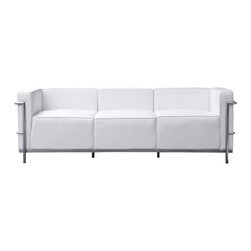 Lemoderno - Fine Mod Imports  Grand Lc3 Sofa, White - Grand Lc3 Sofa is covered in genuine leather on front, sides, back and cushions. Chair has a polished stainless steel frame.     Assembled