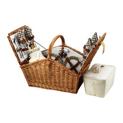 Picnic At Ascot - Huntsman Picnic Basket for Four, Wicker W/London - The Huntsman Picnic Basket has a traditional style.  Hand crafted using full reed willow, this generously sized basket is made to last.  Easy to pack, carry, and enjoy, it includes quality components including ceramic plates and glass wine glasses.  Includes: (4) ceramic plates, glass wine glasses, stainless flatware, cotton napkins, (1) food cooler, insulated wine pouch, hardwood cutting board, spill proof salt & pepper shakers, wood handle cheese knife, stainless waiters corkscrew. Natural Willow with leather straps, closure,  & hinge covers. Lifetime Warranty.