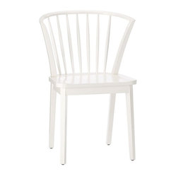 Modern Windsor Dining Chair, White Finish