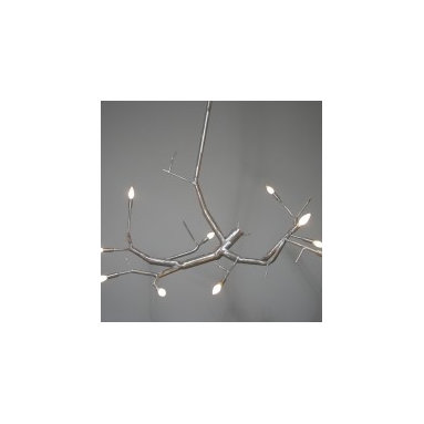 Eco Friendly Furnture and Lighting - Made from salvaged post-consumer aluminum with a brushed finish and gunmetal patina. Lamped with 10 candelabra sockets for any CB base bulb made. Hung from a single wire rope, this fixture style can be mounted to any ceiling height and adjusted on site.