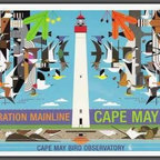 Charley Harper - Charley Harper Poster — Migration Mainline: Cape May Bird Observatory - Charley Harper's Migration Mainline: Cape May Bird Observatory is a 2006 Open Edition poster created for the renowned Jersey Shore bird haven. Harper included the many bird species found near Cape May, New Jersey along with Cape May's iconic lighthouse. Perfect for bird lovers and those who know that going 'Down the Shore' means beautiful beaches and a relaxing vacation!