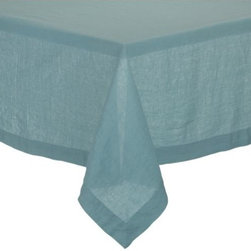 "Helena Aqua 60""x120"" Tablecloth - Lightweight 100% linen tablecloths in beautifully vibrant solids are pre-washed for extra softness. Tailored with 2"" hems and mitered corners for a neat, finished look."