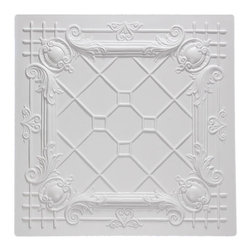 "Bentley Ceiling Tile - White - Perfect for both commercial and residential applications, these tiles are made from thick .03"" vinyl plastic. Their lightweight yet durable construction make these tiles easy to install. Waterproof, these tiles are washable and won't stain due to humidity or mildew. A perfect choice for anyone wanting to add that designer touch at an amazing price."