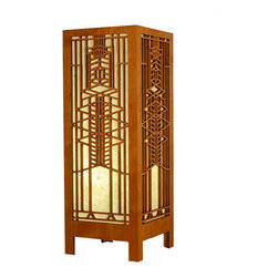 """Lightwave Laser - Frank Lloyd Wright Robie Art Glass Lightbox Accent Lamp - The Frank Lloyd Wright Robie Art Glass Lightbox Accent Lamp design is adapted from one of the art glass windows in the Frederick C. Robie House (1908). Cherry wood veneer with hand made Lotka paper shade material. Inline switch on a 5.5' cord. A 9-13 Watt compact fluorescent bulb (included). (Up to a 30 watt standard bulb may also be used.) Ht: 15.5"""". W: 5.75"""". D: 5.75""""."""