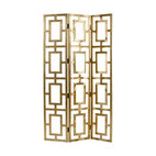 Arteriors - Guilded Screen - Divide an open area in your home stylishly with this Asian-inspired screen. Made of wood with a gilt finish, its trellis design controls the use of space without confining it.