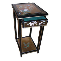 n/a - Chinese Plant Stand Painted Birds and Flowers - Exquisite hand-painted, gold leaf Chinese lacquer Plant Stand. Masterfully hand crafted. Features a single felt lined drawer plus a bottom shelf. Delicately hand painted bird and flower design and a glass top give this elegant piece even greater allure. Hand finished with high quality art lacquer. Display this Oriental treasure in your family room. Our wide array of fine lacquer styles and pieces affords you the chance to select more outstanding pieces for your order. Buy now. Hand made imports like these sell quickly.