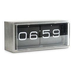 Leff Group - Leff Group - Brick Wall/Desk Clock Black Face - The ultimate and heavy duty piece in the Leff collection. A vintage flip clock, reinvented and redesigned, with a unique combination of materials and graphics. Inside the stainless steel case a precision machine gives you a different composition of numbers every minute (also known as the time). This clock can be put on a desk or hung to the wall. AM/PM designators. This clock is covered by Leff Group's 5-Year warranty.