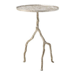Arteriors - Forest Park Table, Silver - The old stick leg table of the 1930s gets an eclectic leg up with this iron table. A trio of tree branch legs gives it a playful, animated look, but the carved out rimmed top is all about the business of holding things for you — such as a drink, a lamp and a book.