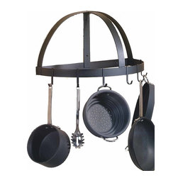 "Renovators Supply - Pot Racks Black Wrought Iron Wall Mount Pot Rack 12"" H x 24"" W - Pot Rack. Organize & reclaim kitchen space you didn��_��__��_t know you had with handy pot racks. This Mediterranean inspired pot rack from the Basque region is designed to be compact yet versatile. Six heavy-duty sliding hooks & rear utensil bar make cooking convenient. Hassle-free wall-mount installation, hardware included. For additional hooks see item #18023. Designed & made with pride in the U.S.A. by skilled craftsmen. Note: Dimensions may vary up to 1/2 in. due to being hand forged."