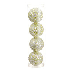 Silk Plants Direct - Silk Plants Direct Glitter Ball Ornament (Pack of 6) - Green - Silk Plants Direct specializes in manufacturing, design and supply of the most life-like, premium quality artificial plants, trees, flowers, arrangements, topiaries and containers for home, office and commercial use. Our Glitter Ball Ornament includes the following: