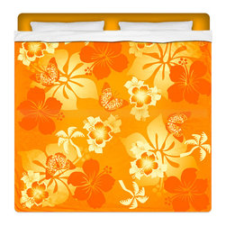 "Eco Friendly King Size Hawaiian ""Aloha Orange"" Hibiscus Sheet Set - Our ""Aloha Orange"" King Size Hawaiian Hibiscus Sheet Set is made of a lightweight microfiber for the ultimate experience in softness~ extremely breathable!"