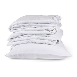 The Linen Works - Classic White Bed Linen Collection - Sheet Set, Double - Our Classic White bed linen is exactly that, a classic.  Pre-washed for maximum comfort, these breathable fibers have a heat-regulating quality which encourages good sleep, making this duvet cool in summer and warm in winter.