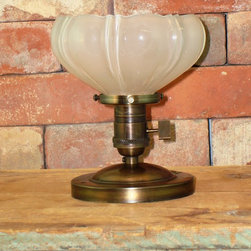 Antique Sheffield Glass  Shade Ceiling Mount - This light adds a beautiful vintage accent above your kitchen sink, bathroom, mud room or powder room.Includes new electrical parts with a custom ceiling mount fixture.